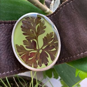 Jewelry - Leather snap bracelet with real leaf accent